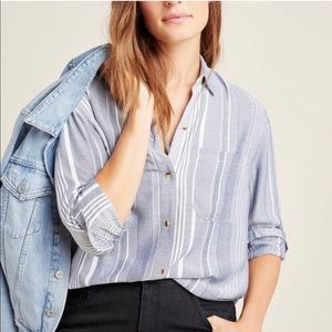 Anthropologie Maeve Blue Striped Baja Button-Down